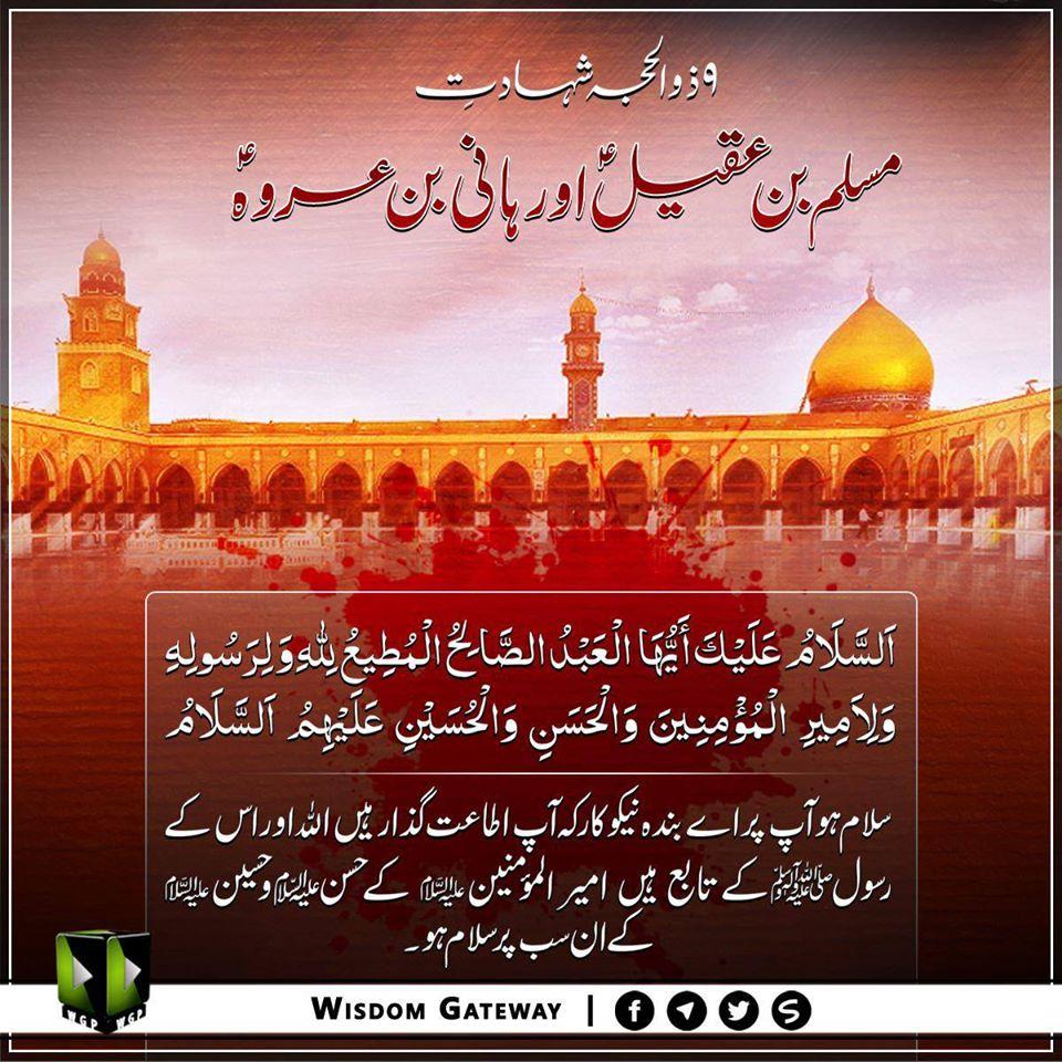 مسلم بن عقیلٔ و ہانی بن عروۂ کی شہادت